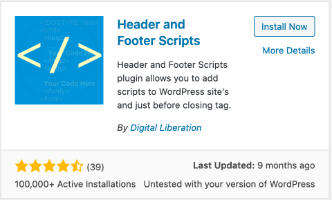Install the Header and Footer  Scripts plugin