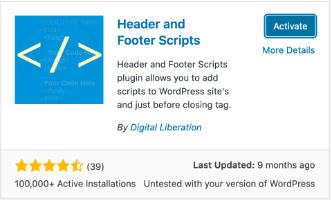 Activate the Header and Footer  Scripts plugin