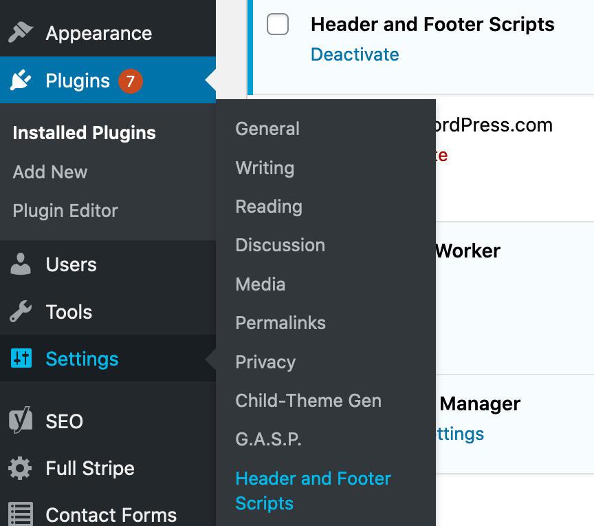 Header and Footer Scripts Plugin Dashboard